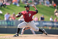 Relief pitcher Paul Paez (39) of the Savannah Sand Gnats delivers a pitch in a game against the Greenville Drive on Sunday, August 24, 2014, at Fluor Field at the West End in Greenville, South Carolina. Greenville won, 8-5. (Tom Priddy/Four Seam Images)