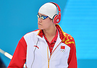 July 30, 2012..Yang Sun of China arrives to compete in Men's 200m Freestyle Final at the Aquatics Center on day three of 2012 Olympic Games in London, United Kingdom.
