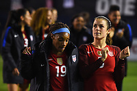 San Diego, CA - Sunday January 21, 2018: Crystal Dunn, Kelley O'Hara during an international friendly between the women's national teams of the United States (USA) and Denmark (DEN) at SDCCU Stadium.