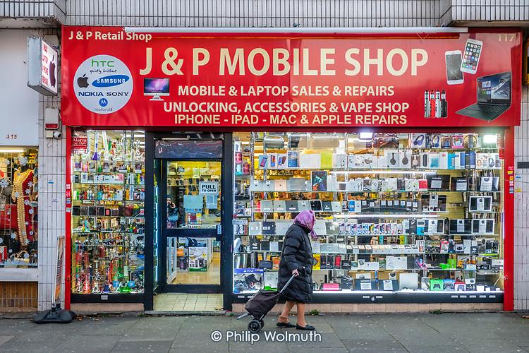 Used mobile phone and laptop shop, Kilburn, London.