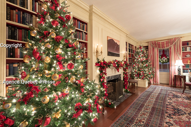 The Library of the White House is decorated for the holiday season Monday, Nov. 26, 2018. (Official White House Photo by Andrea Hanks)