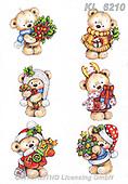 Interlitho-Theresa, CHRISTMAS ANIMALS, WEIHNACHTEN TIERE, NAVIDAD ANIMALES, paintings+++++,6 bears,KL6210,#xa# ,sticker,stickers