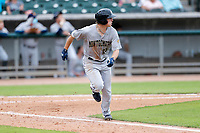 Montgomery Biscuits first baseman Dillon Paulson (25) hustles up the first-base line against the Tennessee Smokies on May 9, 2021, at Smokies Stadium in Kodak, Tennessee. (Danny Parker/Four Seam Images)