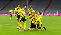 06.03.2021, Fussball 1. Bundesliga 2020/2021, 24. Spieltag, FC Bayern München - Borussia Dortmund, in der Allianz-Arena München. Jubel Torschütze Erling Haaland (2vr., Borussia Dortmund) und seine Teamkollegen zum Tor zum 0:1<br /> <br /> Foto: Bernd Feil/M.i.S./Pool<br /> <br /> Nur für journalistische Zwecke! Only for editorial use! <br /> DFL regulations prohibit any use of photographs as image sequences and/or quasi-video.    <br /> National and international NewsAgencies OUT. <br /> Bundesliga 2020/2021 <br /> photo Imago/Insidefoto <br /> ITALY ONLY