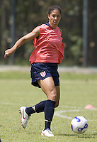 US women's national team midfielder Shannon Boxx looks to pass the ball during practice at the Shenhua FC training ground in Shanghai, China on September 17, 2007.