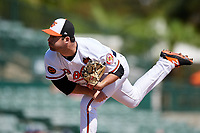 Baltimore Orioles relief pitcher Matt Wotherspoon (98) delivers a pitch during a Grapefruit League Spring Training game against the Tampa Bay Rays on March 1, 2019 at Ed Smith Stadium in Sarasota, Florida.  Rays defeated the Orioles 10-5.  (Mike Janes/Four Seam Images)