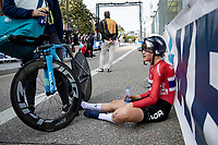 Katrine Aalerud (NOR/Movistar) after finishing<br /> <br /> Women Elite Individual Time Trial from Knokke-Heist to Bruges (30.3 km)<br /> <br /> UCI Road World Championships - Flanders Belgium 2021<br /> <br /> ©kramon