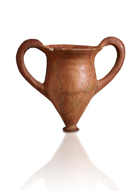 Hittite terra cotta two handled drinking vessel. Hittite Period, 1600 - 1200 BC.  Hattusa Boğazkale. Çorum Archaeological Museum, Corum, Turkey. Against a white bacground.