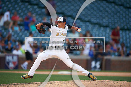 Rian Haire (20) of South Caldwell High School in Hudson, North Carolina during the Under Armour All-American Game on August 15, 2015 at Wrigley Field in Chicago, Illinois. (Mike Janes/Four Seam Images)