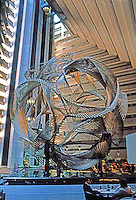 """San Francisco:  Hyatt Hotel Sculpture """"Eclipse""""--a 40 ft. high geodesic sphere by Charles O. Perry. Photo '83."""