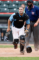 June 25, 2009:  Catcher Alex Avila of the Erie Seawolves in the field during a game at Jerry Uht Park in Erie, PA.  The Erie Seawolves are the Eastern League Double-A affiliate of the Detroit Tigers.  Photo by:  Mike Janes/Four Seam Images