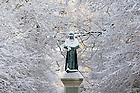 Fr. Sorin statue in snow