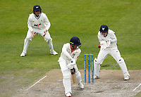 28th May 2021; Emirates Old Trafford, Manchester, Lancashire, England; County Championship Cricket, Lancashire versus Yorkshire, Day 2; Keaton Jennings of Lancashire plays and misses and the ball heads into the gloves of Yorkshire keeper Harry Duke