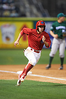 Clearwater Threshers second baseman Scott Kingery (31) running the bases during a game against the Daytona Tortugas on April 19, 2016 at Bright House Field in Clearwater, Florida.  Clearwater defeated Daytona 4-1.  (Mike Janes/Four Seam Images)