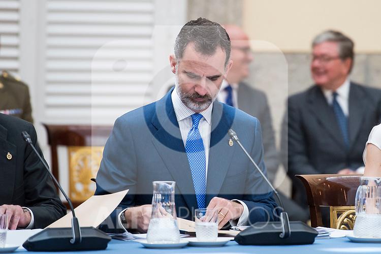 King Felipe VI of Spain attends the meeting of the members of the patronage of the Princesa de Asturias foundation at El Pardo Palace in Madrid, June 16, 2017. Spain.<br /> (ALTERPHOTOS/BorjaB.Hojas)