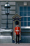 A Palace Guard stands his post at Buckingham Palace in London, England.