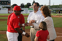 June 19, 2009:  Naomi Silver presents Luis De La Cruz with his championship ring as Cardinals General Manager John Mozeliak looks on during a ceremony to award the 2008 NY-Penn League Champions before a game at Dwyer Stadium in Batavia, NY.  The Batavia Muckdogs are the NY-Penn League Short Season Class-A affiliate of the St. Louis Cardinals.  Photo by:  Mike Janes/Four Seam Images