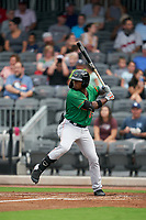 Down East Wood Ducks Julio Pablo Martinez (23) at bat during a Carolina League game against the Fayetteville Woodpeckers on August 13, 2019 at SEGRA Stadium in Fayetteville, North Carolina.  Fayetteville defeated Down East 5-3.  (Mike Janes/Four Seam Images)