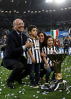 Calcio, Serie A: Juventus vs Napoli. Torino, Juventus Stadium, 23 maggio 2015. <br /> Juventus' CEO Giuseppe Marotta celebrates the victory of the Scudetto at the end of the Italian Serie A football match between Juventus and Napoli at Turin's Juventus Stadium, 23 May 2015.<br /> UPDATE IMAGES PRESS/Isabella Bonotto
