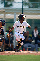 GCL Pirates Yoyner Fajardo (7) bats during a Gulf Coast League game against the GCL Braves on July 30, 2019 at Pirate City in Bradenton, Florida.  GCL Braves defeated the GCL Pirates 10-4.  (Mike Janes/Four Seam Images)