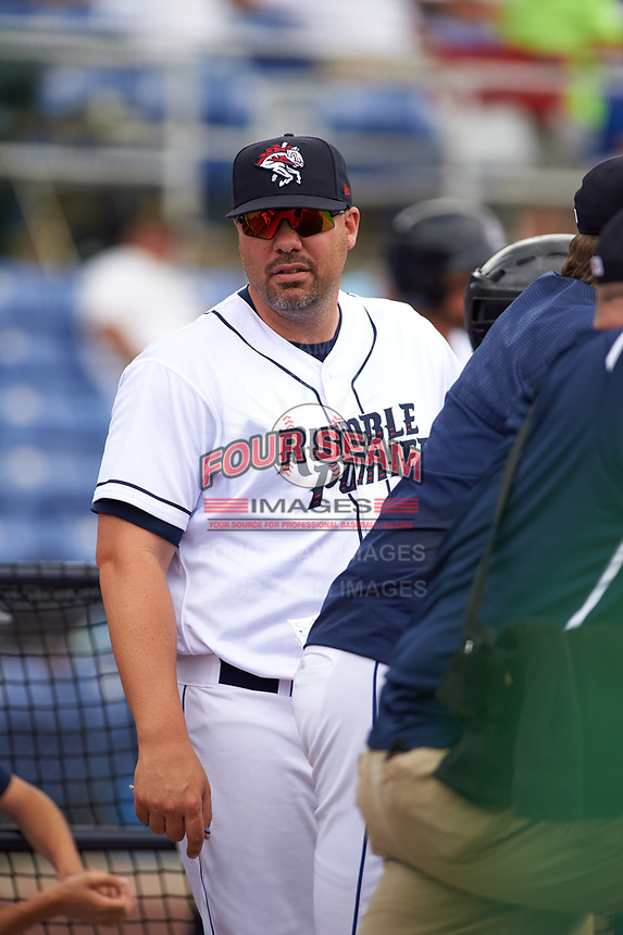 Binghamton Rumble Ponies hitting coach Valentino Pascucci (44) during a game against the Hartford Yard Goats on July 9, 2017 at NYSEG Stadium in Binghamton, New York.  Hartford defeated Binghamton 7-3.  (Mike Janes/Four Seam Images)