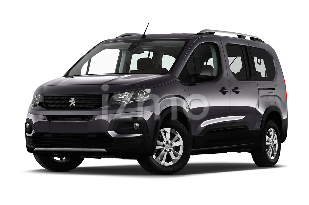 Stock pictures of low aggressive front three quarter view of a 2019 Peugeot Rifter GT-Line 5 Door MPV