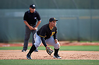 Pittsburgh Pirates Carlos Munoz (77) during a minor league Spring Training intrasquad game on April 3, 2016 at Pirate City in Bradenton, Florida.  (Mike Janes/Four Seam Images)