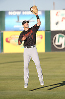 Drew Jackson (7) of the Bakersfield Blaze throws before a game against the Lancaster JetHawks at The Hanger on April 28, 2016 in Lancaster, California. Lancaster defeated Bakersfield, 5-4. (Larry Goren/Four Seam Images)