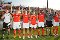 Sky Blue FC players cheer during player introductions. The Atlanta Beat defeated Sky Blue FC 1-0 during a Women's Professional Soccer (WPS) match at Yurcak Field in Piscataway, NJ, on July 18, 2010.