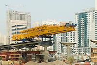 United Arab Emirates, Dubai, Dubai Metro construction site