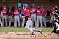 Center fielder Kyle Decker (12) of the Presbyterian College Blue Hose in a game against the University of South Carolina Upstate Spartans on Tuesday, March 23, 2021, at Cleveland S. Harley Park in Spartanburg, South Carolina. (Tom Priddy/Four Seam Images)