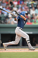 Second baseman Carlos Herrera (2) of the Asheville Tourists bats in a game against the Greenville Drive on Wednesday, August 2, 2017, at Fluor Field at the West End in Greenville, South Carolina. Greenville won, 1-0. (Tom Priddy/Four Seam Images)