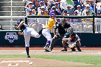 LSU Tigers outfielder Chris Sciambra (5) at bat during the NCAA College baseball World Series against the Cal State Fullerton on June 16, 2015 at TD Ameritrade Park in Omaha, Nebraska. LSU defeated Fullerton 5-3. (Andrew Woolley/Four Seam Images)