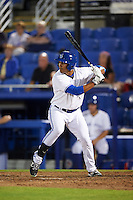 Dunedin Blue Jays right fielder Derrick Loveless (14) at bat during a game against the Palm Beach Cardinals on April 15, 2016 at Florida Auto Exchange Stadium in Dunedin, Florida.  Dunedin defeated Palm Beach 8-7 in ten innings.  (Mike Janes/Four Seam Images)