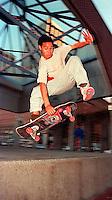Skateboarder in Justin Herman Plaza, 1987.   p&#xA;<br />