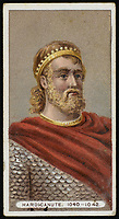 HARDICANUTE or HARDECANUTE  King of England (1040-42) and King of Denmark (1028-42) / Unattributed design on a cigarette card / 1019? - 1042