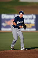 AZL Brewers Blue shortstop Cam Devanney (2) during an Arizona League game against the AZL Brewers Gold on July 13, 2019 at American Family Fields of Phoenix in Phoenix, Arizona. The AZL Brewers Blue defeated the AZL Brewers Gold 6-0. (Zachary Lucy/Four Seam Images)