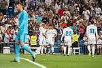 "Real Madrid's Karim Benzema, Marco Asensio, Carlos Henrique Casemiro, Francisco Roman ""Isco"" and Gareth Bale celebrating a goal during La Liga match between Real Madrid and Valencia CF at Santiago Bernabeu Stadium in Madrid, Spain August 27, 2017. (ALTERPHOTOS/Borja B.Hojas)"