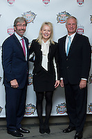 (L-R) Tom Murray, CEO of the Charlotte Regional Visitors Authority, Rachel Richards, VP, Chief Marketing Officer of Sonic Automotive, Inc., and Dan Rajkowski, Charlotte Knights Chief Operating Officer, pose for a photo after announcing that Sonic Automotive will be the title sponsor for the 2016 Triple-A Baseball All-Star Game at BB&T Ballpark on February 17, 2016 in Charlotte, North Carolina.  The Triple-A Baseball All-Star game and associated events will take place July 11-13, 2016 at BB&T Ballpark.  (Brian Westerholt/Four Seam Images)