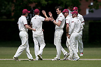 Ash Casey of Brentwood claims the second Harold Wood wicket during Brentwood CC (bowling) vs Harold Wood CC, Hamro Foundation Essex League Cricket at The Old County Ground on 12th June 2021
