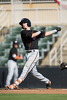 Chris Clare (9) of the Delmarva Shorebirds follows through on his swing against the Kannapolis Intimidators at Kannapolis Intimidators Stadium on July 2, 2017 in Kannapolis, North Carolina.  The Shorebirds defeated the Intimidators 5-4.  (Brian Westerholt/Four Seam Images)