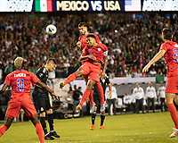 CHICAGO, IL - JULY 7: Matt Miazga #19 and Weston Mckennie #8 attempt to head the ball towards the goal during a game between Mexico and USMNT at Soldier Field on July 7, 2019 in Chicago, Illinois.