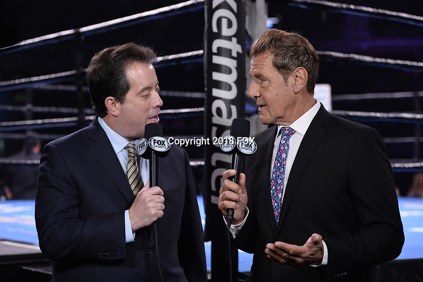"""BROOKLYN, NY - DECEMBER 22:  Sports commentators Kenny Albert and Joe Goossen attend the Fox Sports and Premier Boxing Champions  December 22 """"PBC on Fox"""" Fight Night at the Barclays Center on December 22, 2018 in Brooklyn, New York. (Photo by Anthony Behar/Fox Sports/PictureGroup)"""