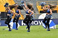 BOGOTÁ-COLOMBIA, 17–08-2019: Porristas de Millonarios animan a su equipo durante partido entre Millonarios y La Equidad de la fecha 6 por la Liga Águila II 2019  jugado en el estadio Nemesio Camacho El Campín de la ciudad de Bogotá. / Cheerleaders of Millonarios cheer for their team during a match between Millonarios and La Equidad of the 6th date for the Aguila Leguaje II 2019 played at the Nemesio Camacho El Campin Stadium in Bogota city, Photo: VizzorImage / Luis Ramírez / Staff.