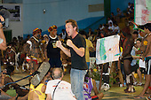 """Altamira, Brazil. Bruce Parry, BBC """"Xingu Vivo Para Sempre"""" protest meeting about the proposed Belo Monte hydroeletric dam and other dams on the Xingu river and its tributaries."""