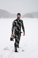 Georgios  Vourtsianis (Norway / Greeece). Freediving competition Oslo Ice Challenge at freshwater lake Lutvann outside the Norwegian capital Oslo. Atheletes, including current and former world champions, entered a hole in the ice to compete. The participants reached depths down to 52 meters below the surface.