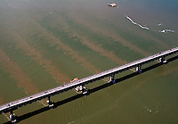 aerial photography tidal flow, sediment, Richmond Bridge, Contra Costa county California