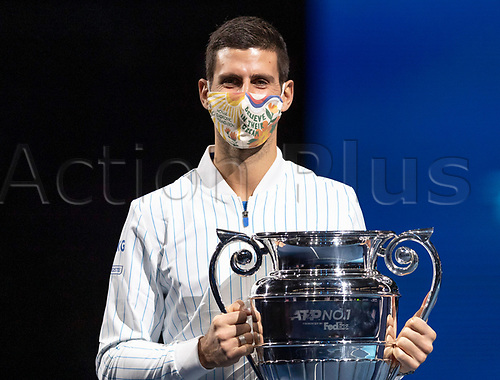 15th November 2020, O2, London, England;  Novak Djokovic of Serbia poses with his ATP, Tennis Mens World No. 1 trophy at the ATP World Tour Finals 2020 in London