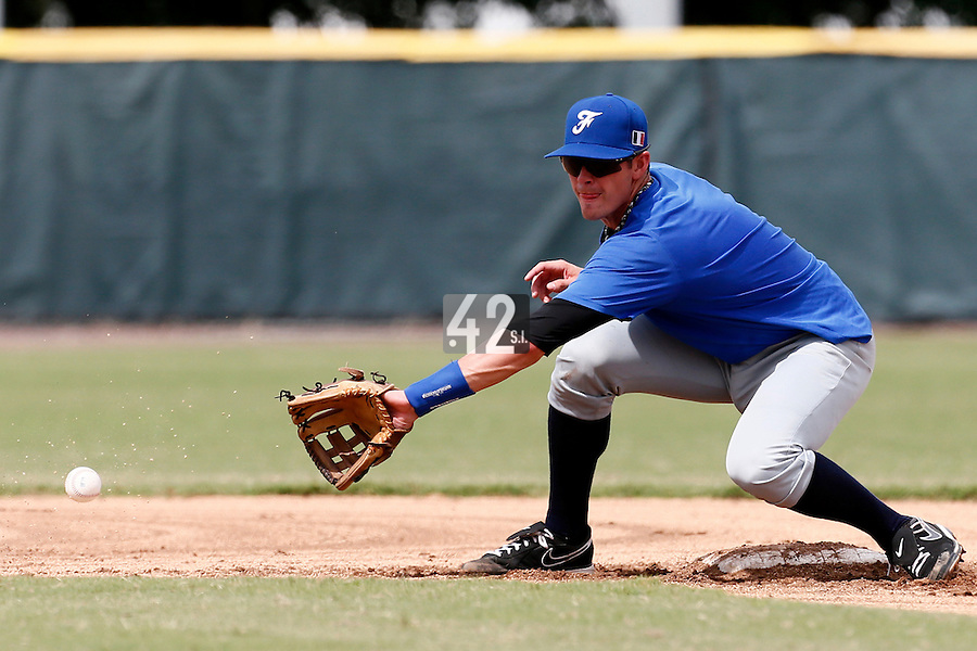 19 September 2012: Emmanuel Garcia eyes the ball on second base during Team France friendly game won 6-3 against Palm Beach State College, during the 2012 World Baseball Classic Qualifier round, in Lake Worth, Florida, USA.