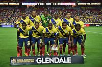 Glendale, AZ - Wednesday June 08, 2016: Ecuador Starting Eleven during a Copa America Centenario Group B match between Ecuador (ECU) and Peru (PER) at University of Phoenix Stadium.